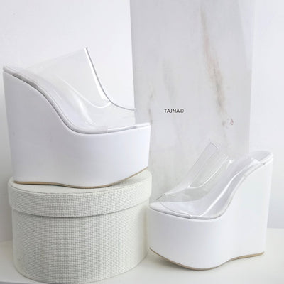 Transparent Strap White Wedge Mules - Tajna Club