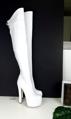 White Over the Knee Platform Boots - Tajna Club