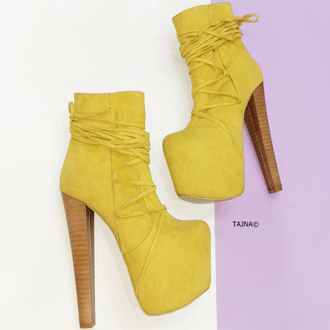 Long Laced Yellow High Heel Booties - Tajna Club