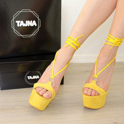 Lace Up Round Toe Yellow Suede High Heel Platforms - Tajna Club
