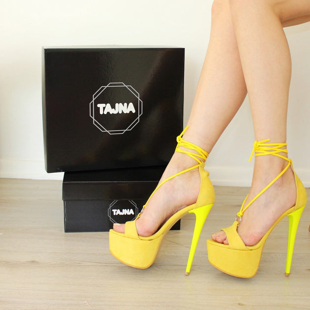 Lace Up Round Toe Yellow Suede High