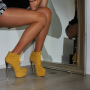 Lace Up Yellow High Heel Platform Ankle Boots - Tajna Club