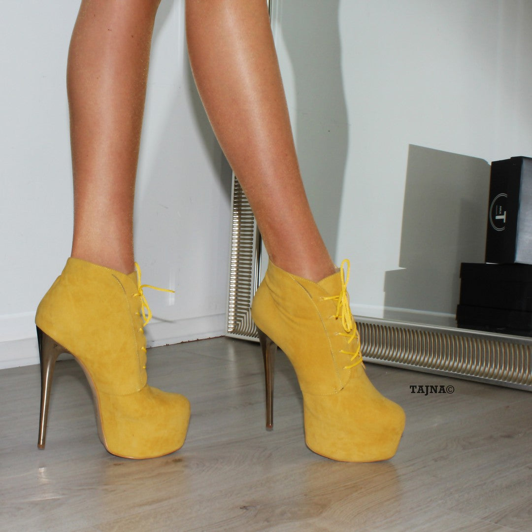 70d66b6155d Lace Up Yellow High Heel Platform Ankle Boots - Tajna Club ...