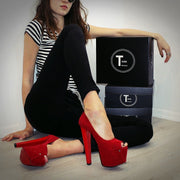 Red Suede Peep Toe High Heels - Tajna Club