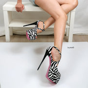 Zebra Cross Strap Open Toe Heels - Tajna Club