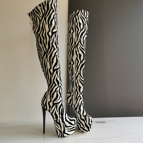 Zebra Design Knee High Platform Boots - Tajna Club