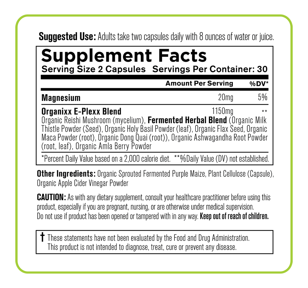 E-Plexx ingredients label
