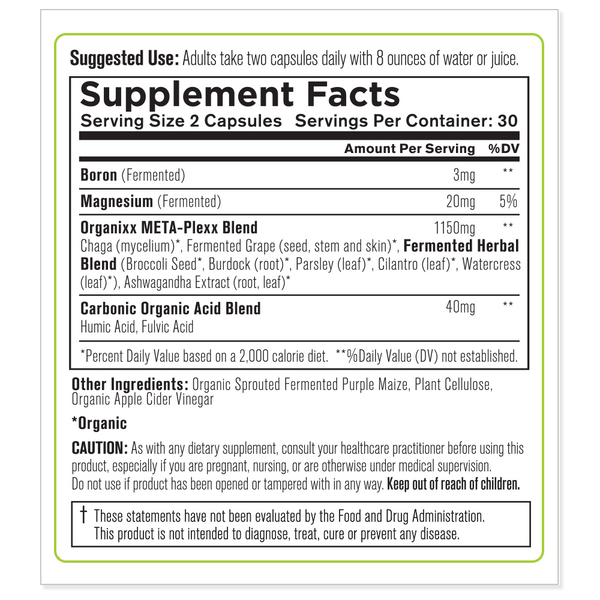 Meta-Plexx ingredients label
