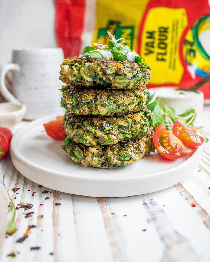 Tropical Sun Yam Courgette Fritters