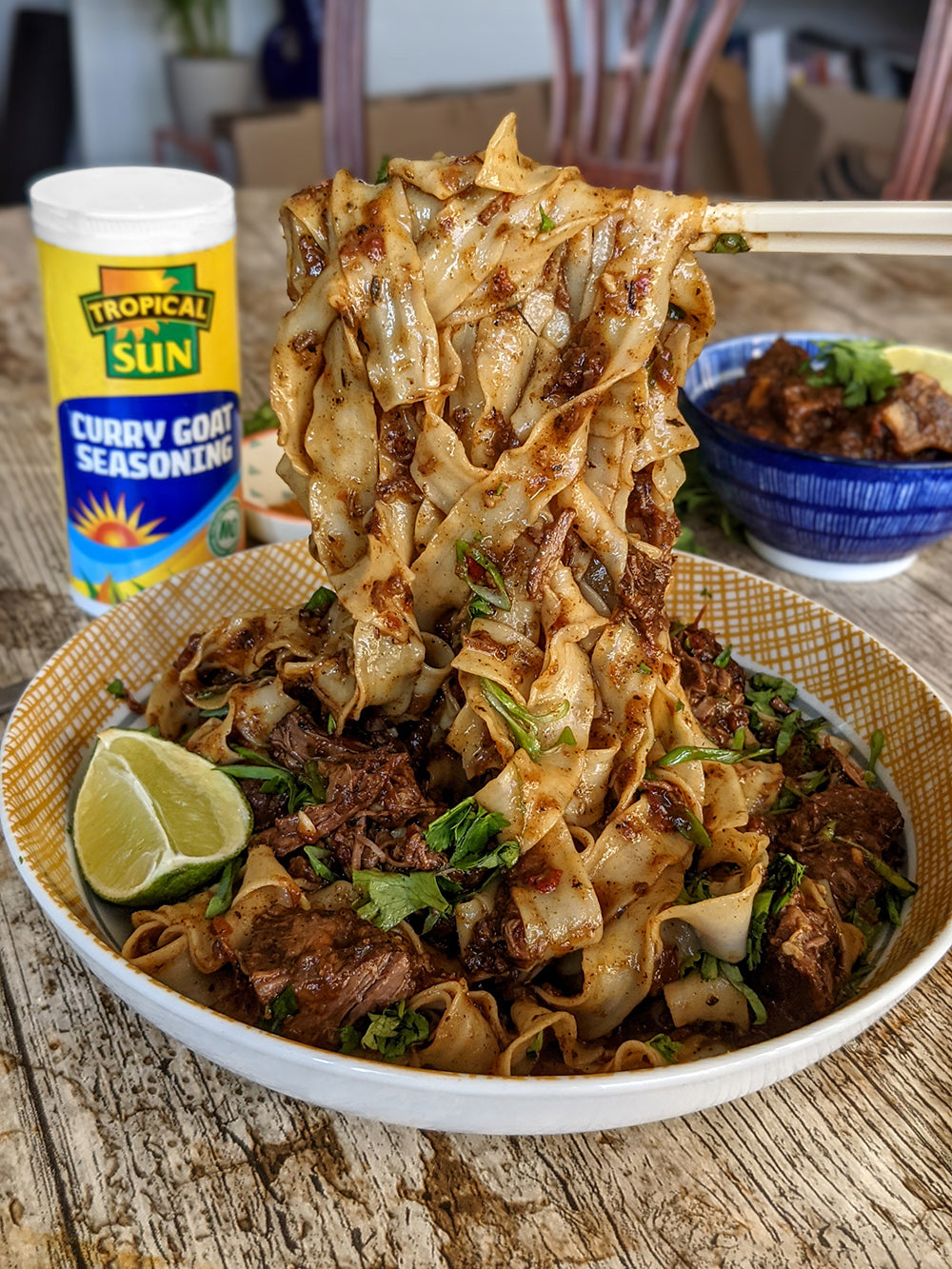 One Hungry Asian Curry Goat Noodles Tropical Sun Curry Goat Seasoning LQ