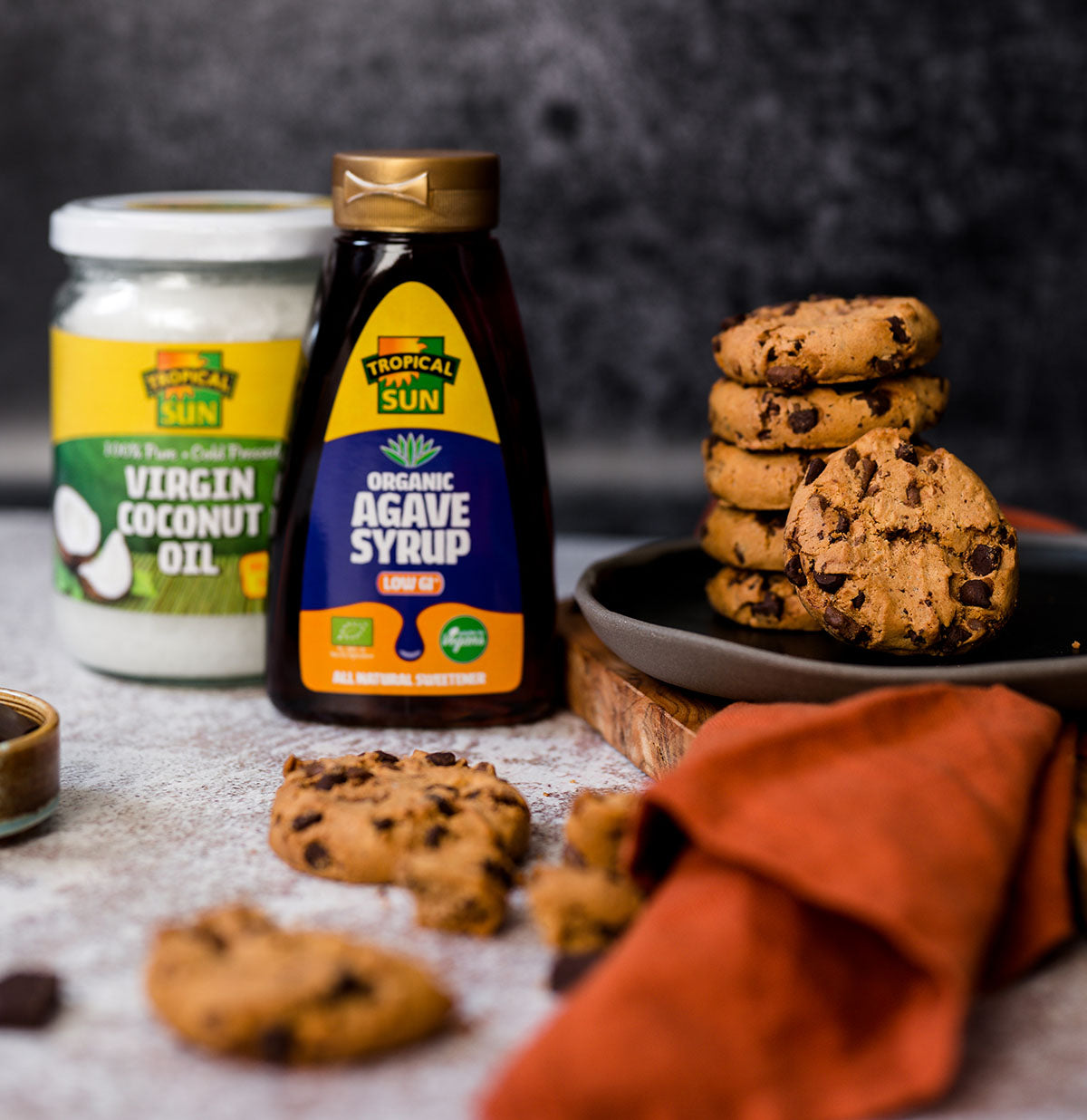 Top Food Facts Choc Chip Cookies Recipe Tropical Sun Coconut Oil Agave Syrup