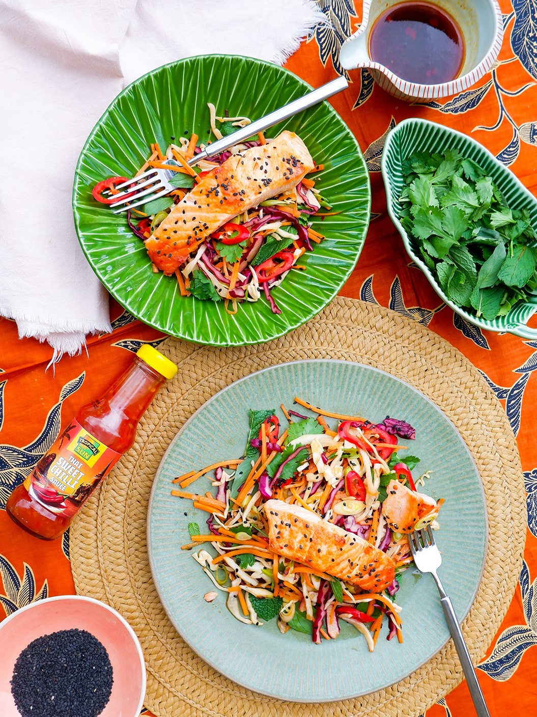 Sweet Chilli Salmon with Asian Slaw