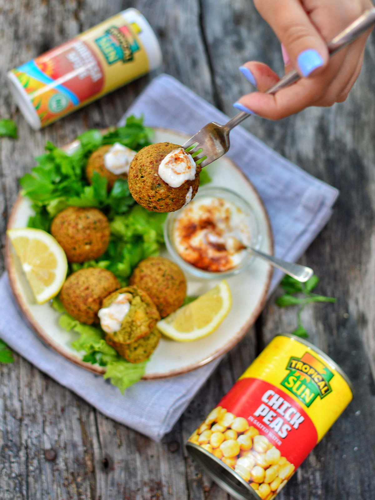 Zhoro Apostolov Falafel With Harissa Spiced Yoghurt Recipe Tropical Sun Chick Peas