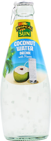 Tropical Sun Coconut Water Drink with Coconut Pieces Glass Bottle 300ml