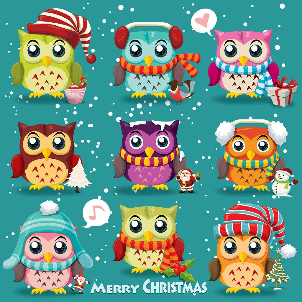 Vintage Christmas Poster Design with Owls, Santa Claus, Snowman Puzzle (2 sizes: 40, 230 pieces)  - Galaxy Puzzles