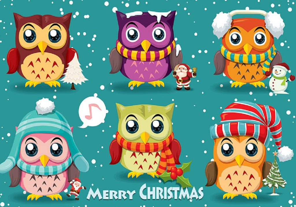 Vintage Christmas Poster Design with Owls, Santa Claus, Snowman Puzzle (2 sizes: 40, 250 pieces)