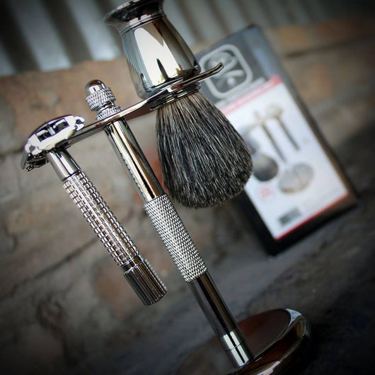 Mini Moustachery Shave Kit Chrome