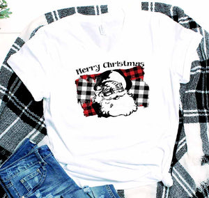 BUFFALO PLAID SPLASHED SANTA