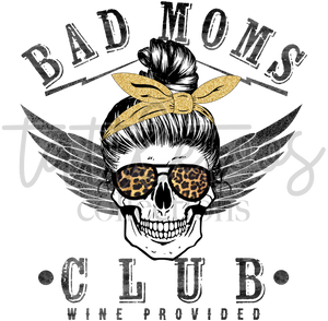 BAD MOM'S CLUB SKULL WITH WINGS TF1