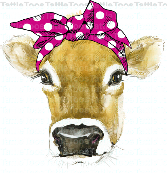 PINK POLKA DOT BANDANA COW (DIGITAL JPEG) HAS WHITE BACKGROUND