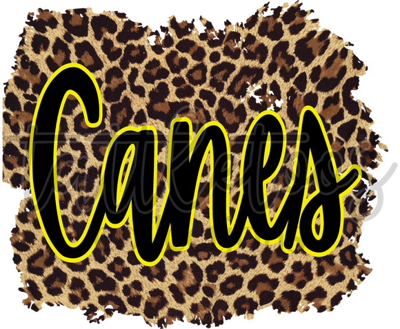 BLACK AND YELLOW CANES ON LEOPARD BACKGROUND TT1