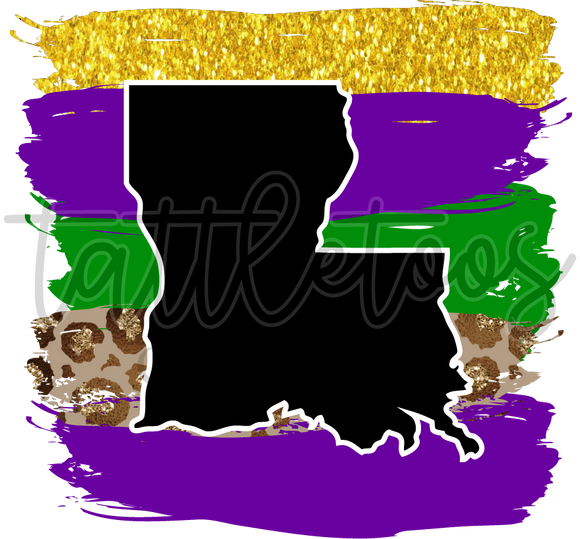 BLACK LOUISIANA ON MARDI GRAS BRUSH STROKES TT1