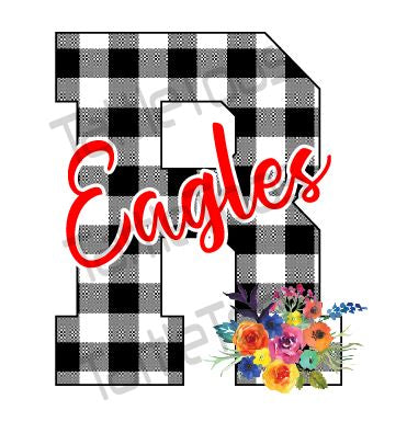 BUFFALO PLAID R EAGLES WITH FLOWER BOUQUET (DIGITAL PNG)
