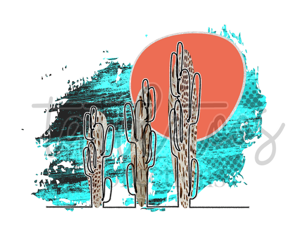 CACTUS SCENE OUTLINE TT 1  (DIGITAL PNG)