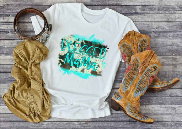 COWHIDE TURQUOISE BLESSED MAMA SDD1