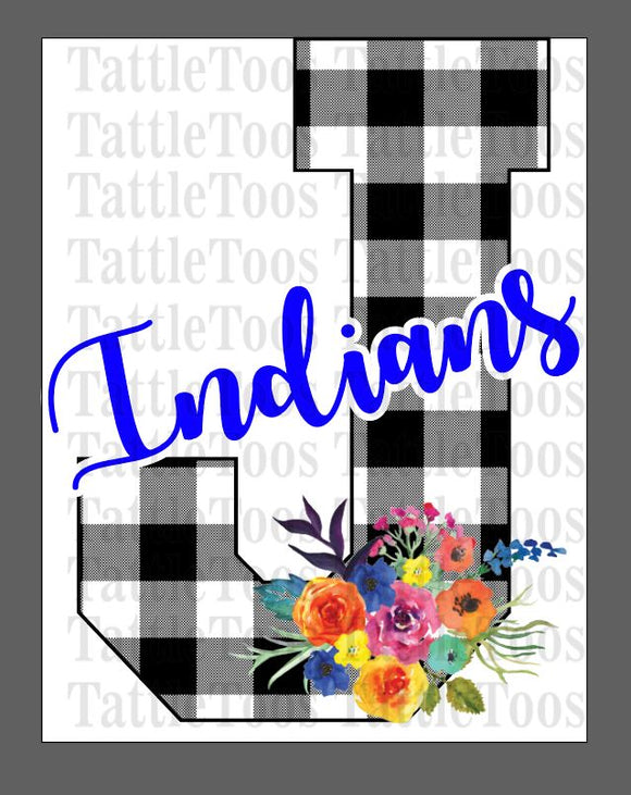 BUFFALO PLAID J ROYAL BLUE INDIANS WITH FLOWER BOUQUET (DIGITAL PNG)