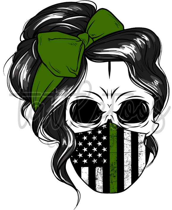 FEMALE SKULL WITH MILITARY FLAG MASK DDD1