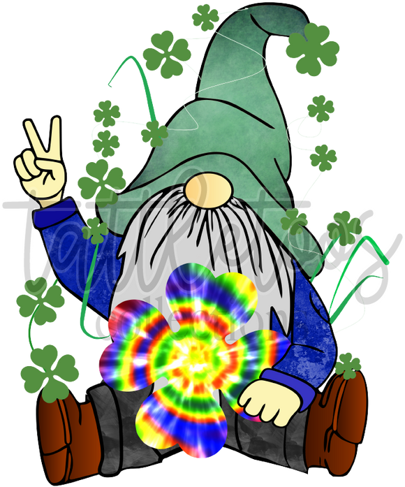 GNOME WITH TIE DYE SHAMROCK 1