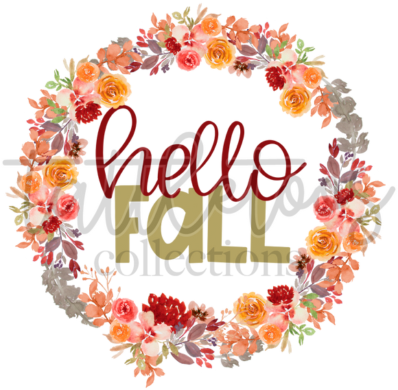 HELLO FALL FLORAL WREATH TF1