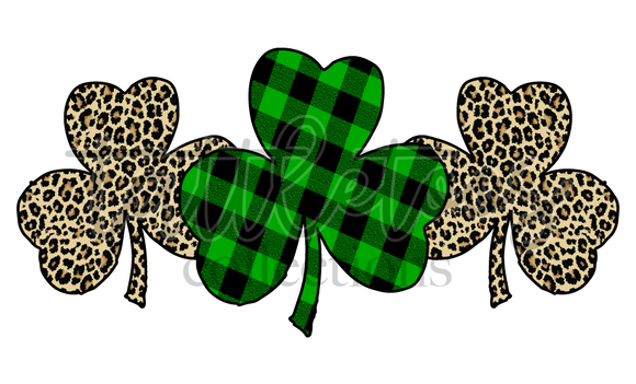 LEOPARD PLAID CLOVER TRIO TT 1  (DIGITAL PNG)
