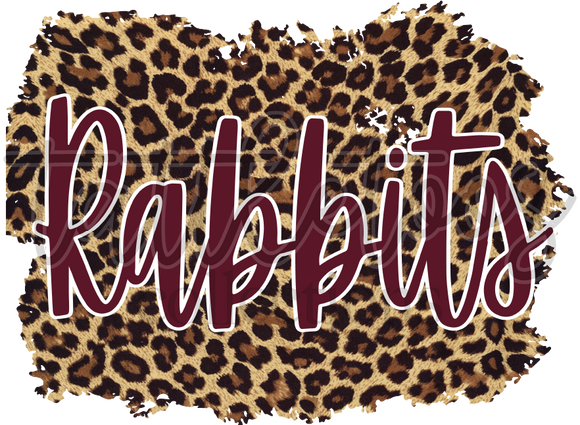 MAROON RABBITS ON LEOPARD BACKGROUND TT1