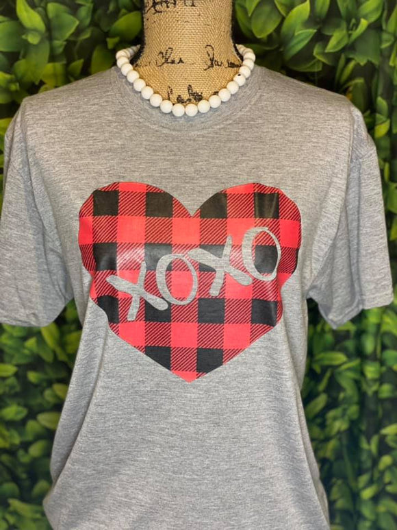 *SOFT* BUFFALO PLAID XOXO HEART - 0644