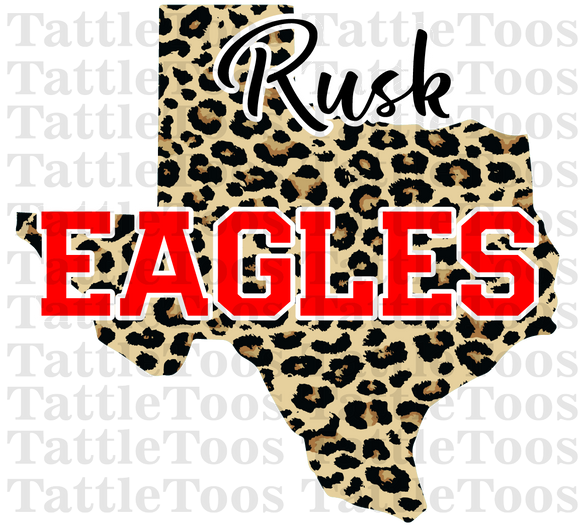 RUSK EAGLES LEOPARD TEXAS NO FLOWERS (DIGITAL PNG)
