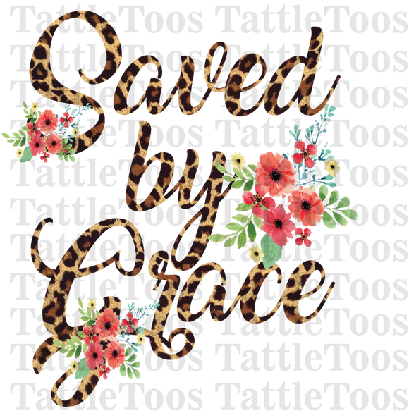 SAVED BY GRACE LEOPARD FLORAL (DIGITAL PNG)