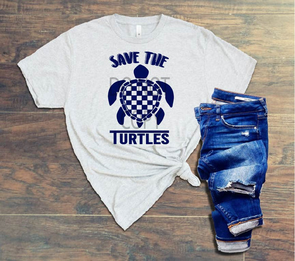 SAVE THE TURTLES CHECKERED - ADULT - NAVY - 0143