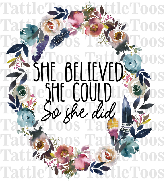 SHE BELIEVED SHE COULD WREATH (DIGITAL PNG)