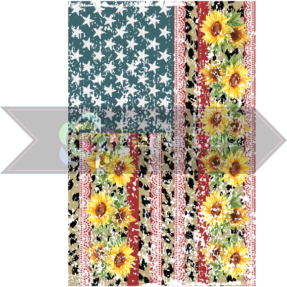 SUNFLOWERANDLACEUSAFLAG DISTRESSED