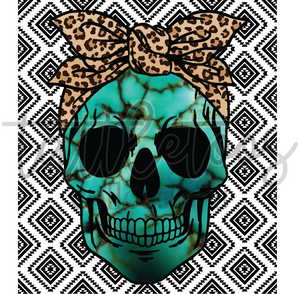 TURQUOISE SKULL WITH AZTEC BACKGROUND 1