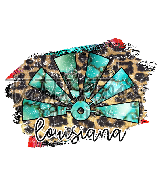 TURQUOISE LEOPARD DISTRESSED WINDMILL LOUISIANA 1