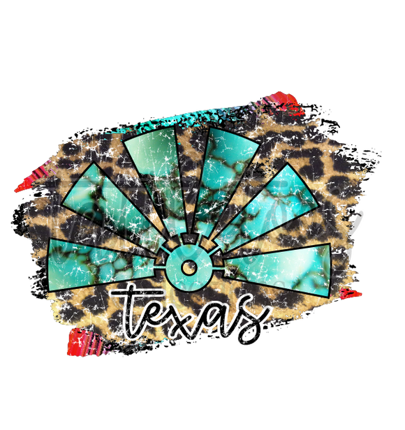 TURQUOISE LEOPARD DISTRESSED WINDMILL TEXAS 1