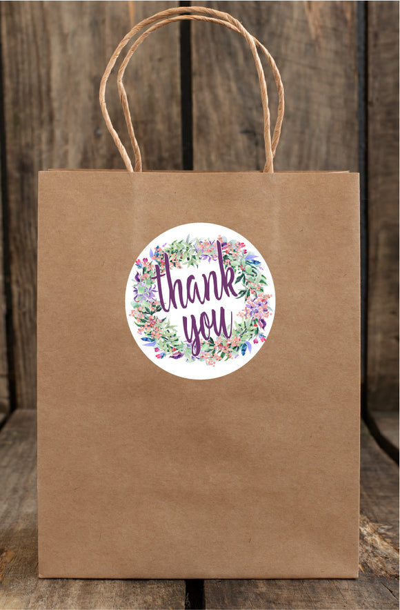 WATERCOLOR WREATH THANK YOU CIRCLE TT1 - STICKER