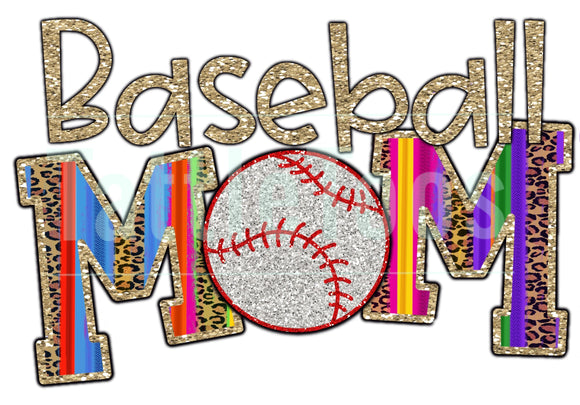 COLORFUL GLITTERY BASEBALL MOM 1