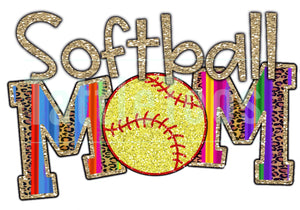 COLORFUL GLITTERY SOFTBALL MOM 1