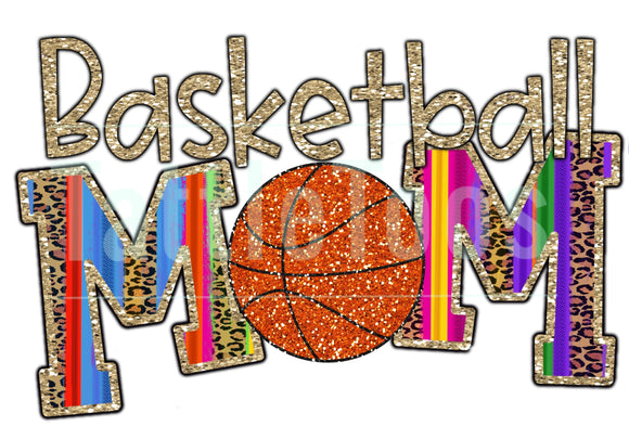 COLORFUL GLITTERY BASKETBALL MOM 1