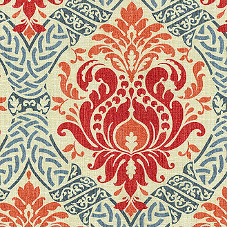 677482 Dressed Up Damask Poppy Pk Lifestyles Fabric - charlestonfabrics.com