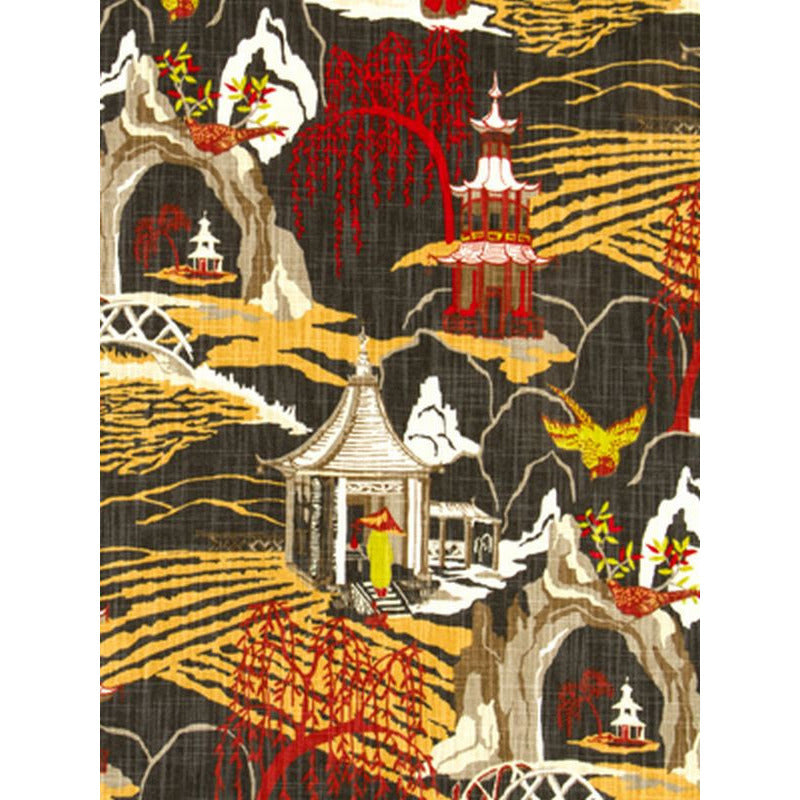 Robert Allen Neo Toile Red Lacquer Prints Fabric - charlestonfabrics.com